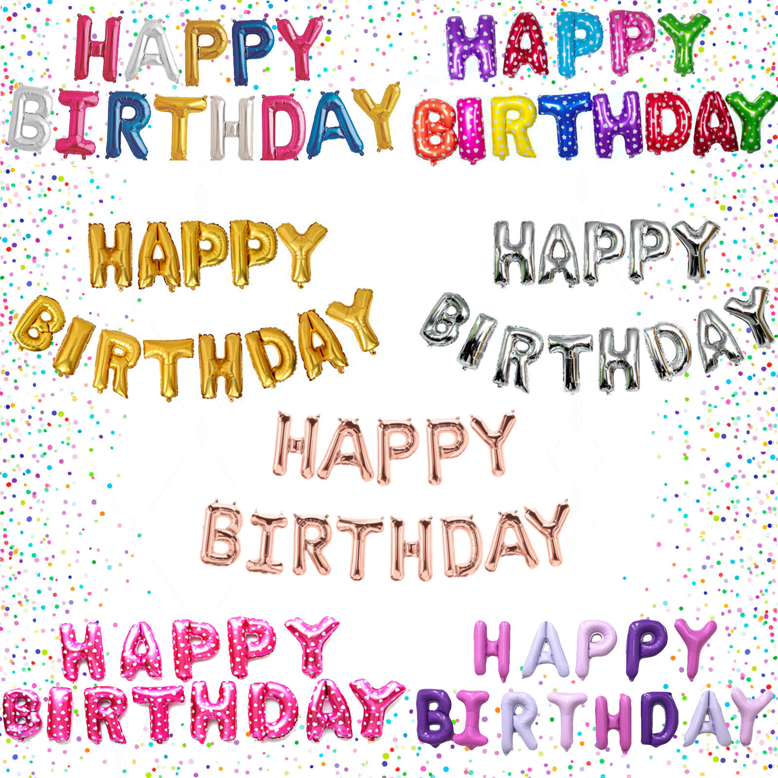 13 tlg Happy Birthday Folienballons Luftballons Buchstaben ...