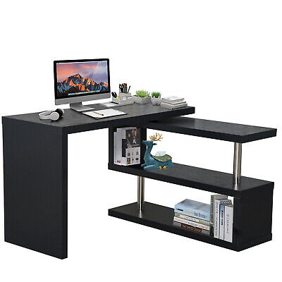 Corner Desk Set Organizer Bookshelf Storage Hollow Furniture Study Office