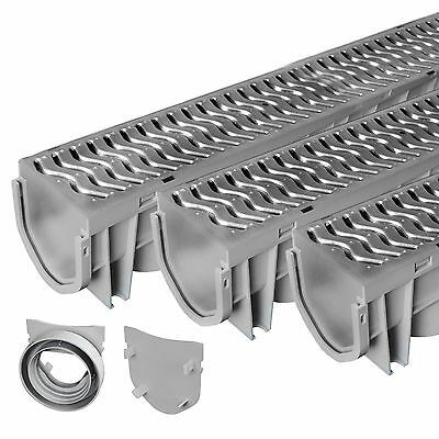 Source 1 Drainage Trench & Driveway Channel Drain with Steel Grate – 3-Pack Home & Garden