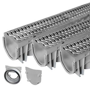 Source 1 Drainage Trench & Driveway Channel Drain with Steel Grate - 3-Pack