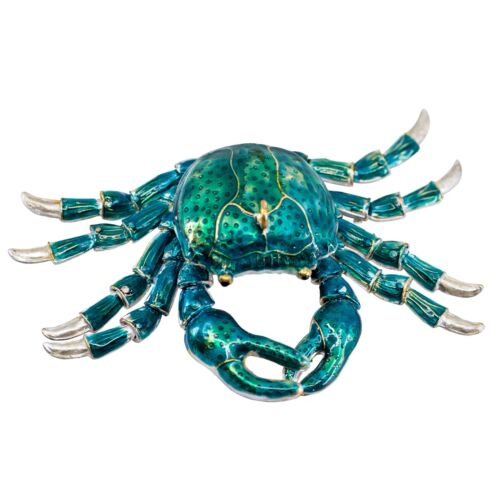 """Unique Cloisonne Enameled Metal Articulated Crab Ornament Jointed Legs 4.5""""W"""