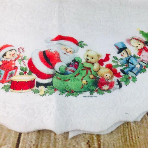 vtg small Christmas tree skirt Santa teddy bears super cute white felt