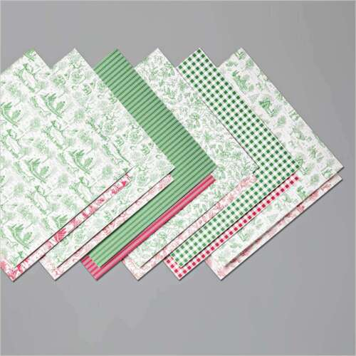 Stampin Up TOILE TIDINGS Designer Series Paper-12 Sheets of 6x6, Red & Green