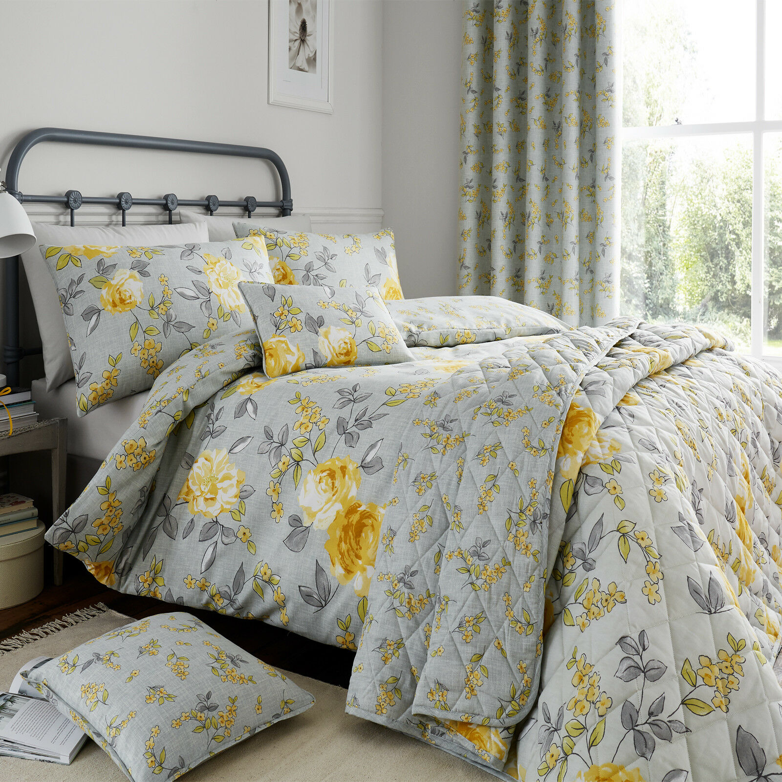 Cotton Sateen Delicate Floral Duvet Cover And Pillowcase Set