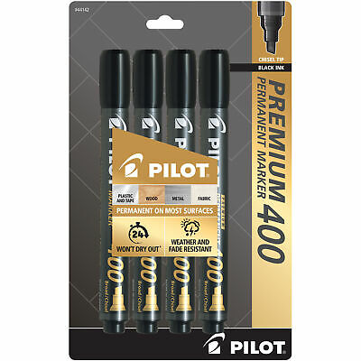 Pilot Premium 400 Permanent Marker Broad Chisel Tip Black Ink Pack Of 4