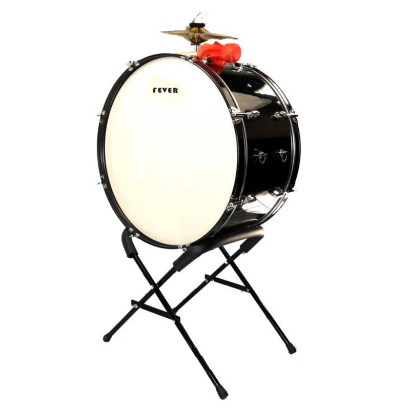 Fever 24x12 Drum Bass Tambora with Stand Black