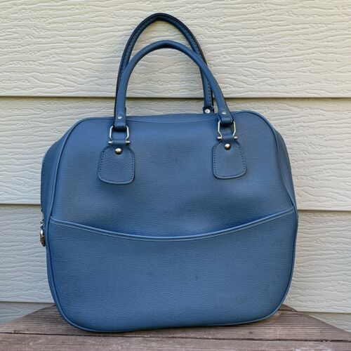 Vintage Vinyl Light Blue Carry On Luggage Overnight Bag Made In Japan 19 H - $29.50