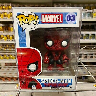 "New Funko Pop Marvel : Spider-Man #03 Bubble-Head Red Black Vinyl ""MINT"""
