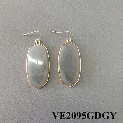 Simple Gold Finish Grey Oval Shaped Designer Inspired Drop Dangle Hook Earrings