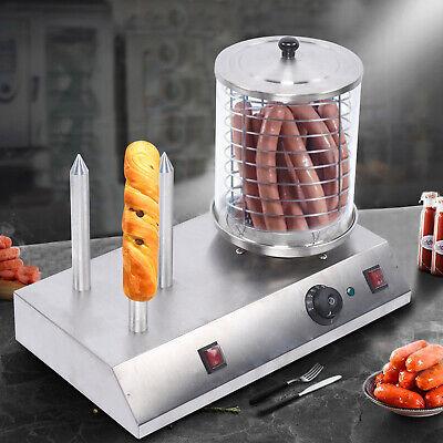 110v Commercial Display Electric Hot Dog Roller Steamer Machine Bun Warmer Usa