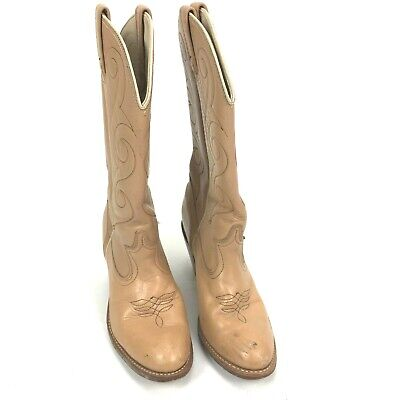 Acme Women's Cowboy Boot Creme With Rust Stitching Size 8 M