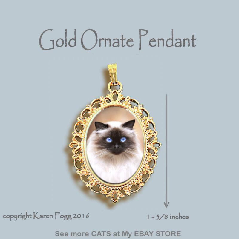 HIMALAYAN LONGHAIR Cat -ORNATE GOLD PENDANT NECKLACE