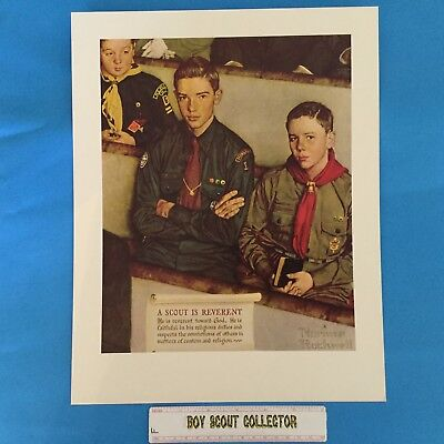 "Boy Scout / Cub Scout Norman Rockwell Print 11""x14"" A Scout Is Reverent"