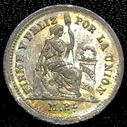 1860 YB Peru 1/2 Real Silver GEM BU, Toned Coin , KM# 180 Rare!