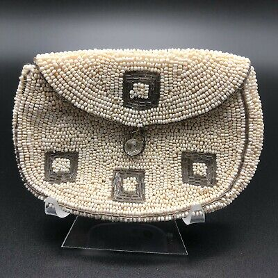 1940s Handbags and Purses History 1940's Vintage Purse White Ivory Seed Bead Beaded Coin Purse Bag Button Closure  $27.00 AT vintagedancer.com
