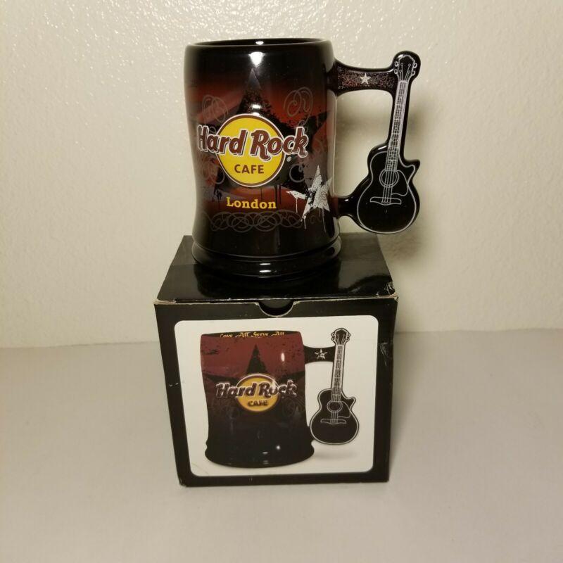 Hard Rock Cafe London Ceramic Coffee Mug with Guitar Handle With Original Box.