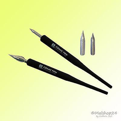 Comic Pen Set: 2 Federhalter + 4 Zeichenfedern Federn Spitzfedern Tuschefedern