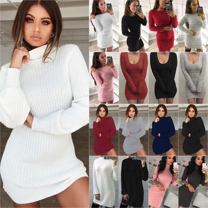 Damen Bodycon Minikled Pulloverkleid Pulli Sweater Stricken Winter Warme Kleid