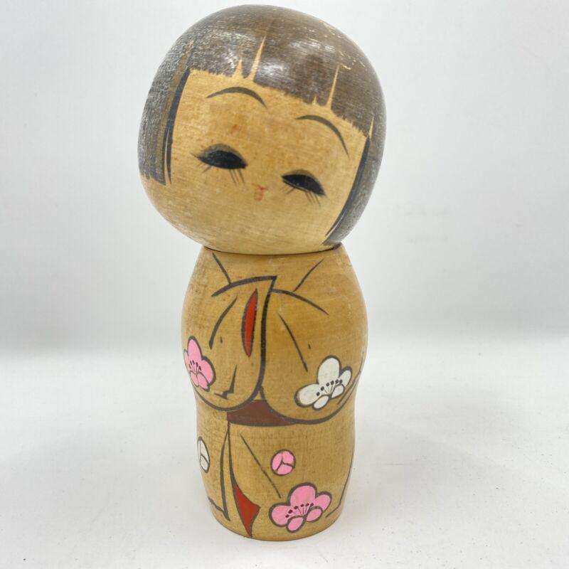 "Kokeshi Doll Wood Hand Painted Carved Sweet Flower Design Japanese Vintage 5"""