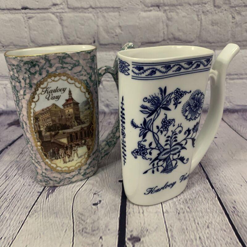 Set Of 2 Karlovy Vary Viva Porcelan Dalovics Spa Drinking Water Cup Mug
