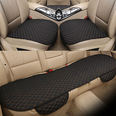 Car Seat Cover Protector Mat Pad Linen Fabric Front Rear Flax Cushion Breathable ()