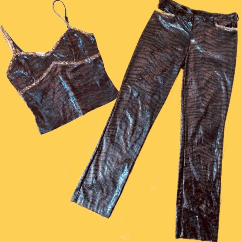 VTG Betsey Johnson SEXY Tiger & Snakeskin 90s 2 PC Set Pants & Cami Top Feathers