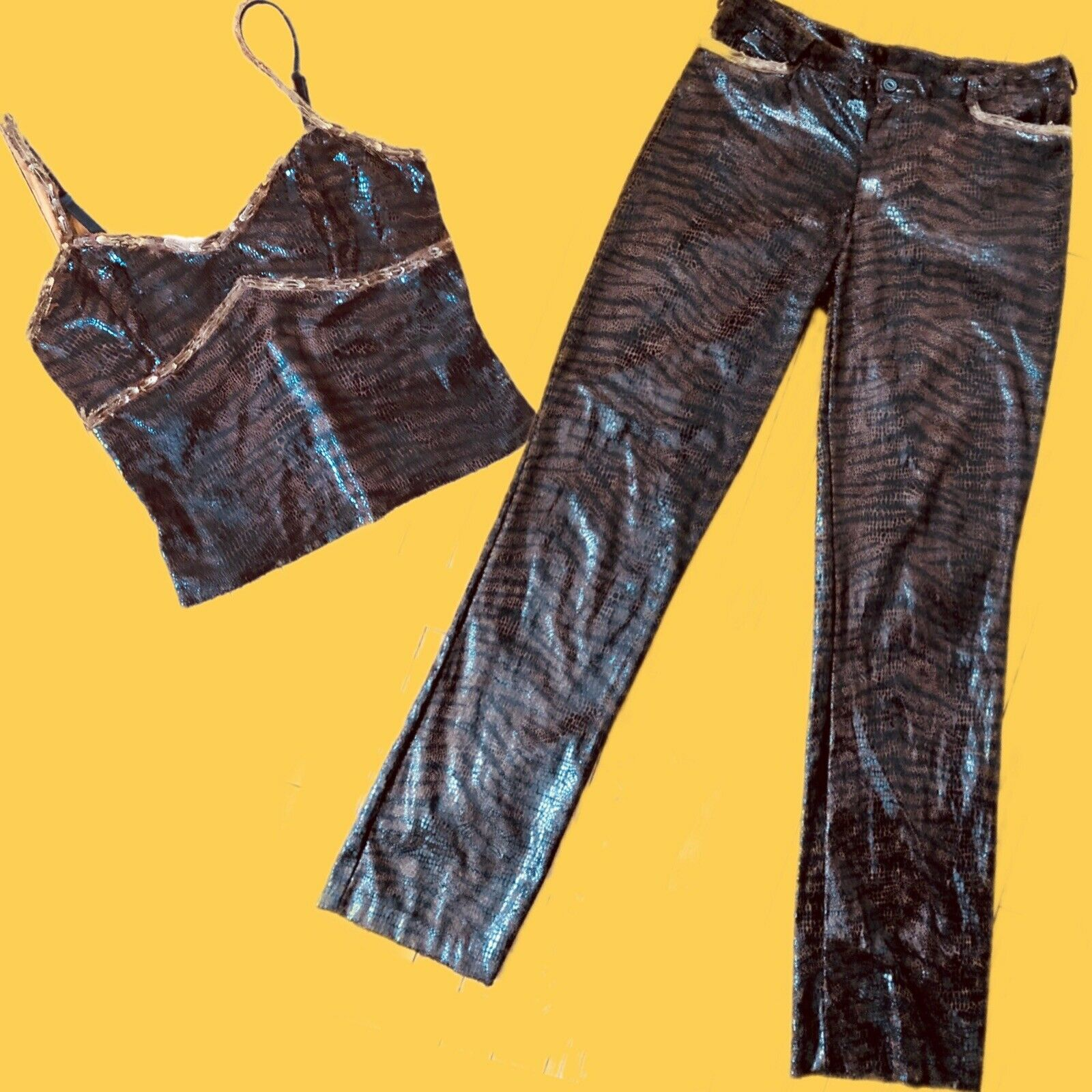 VTG 90s BETSEY JOHNSON 2 PC TIGER & SNAKESKIN SET