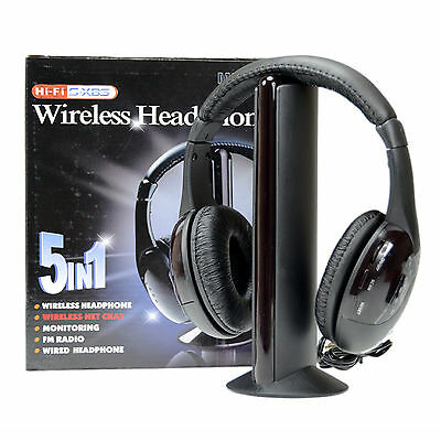 Cuffie Stereo Wireless 5 IN 1 Senza Fili WIFI Cuffia per Pc Tv Mp3