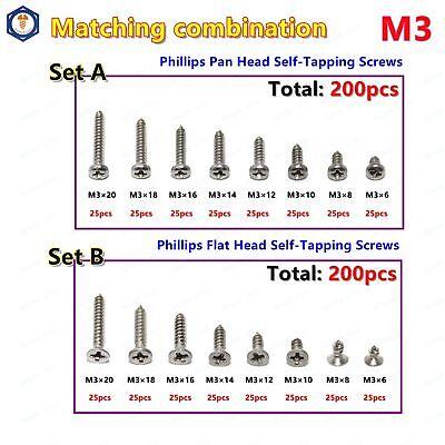 Us Stock 200pcs M3 Phillips Pan Flat Head Self Tapping Screws Assortment 304ss
