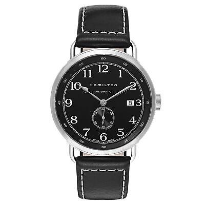 Hamilton Men's H78415733 Khaki Navy Black Dial 40mm Leather Watch