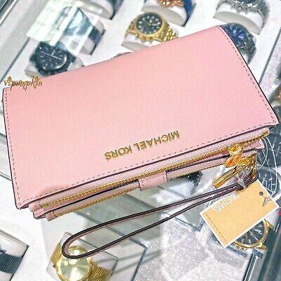 Michael Kors Jet Set Travel Double Zip Wristlet Phone Case Wallet Blossom