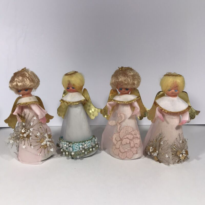4 Vintage Angels Tree Topper or Table Cone Shape Plastic Face Various Tulle