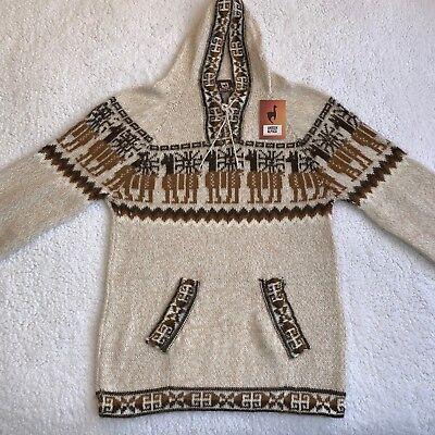 NEW Men Handmade ANDEAN ALPACA Beige Hoodie Sweatshirt Sweater Sz M