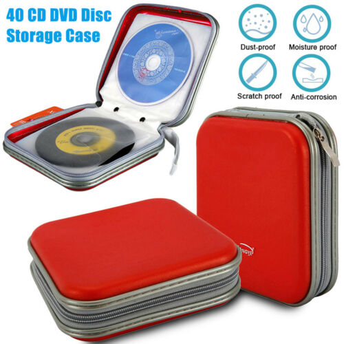 40 Disc Double-side CD DVD Organizer Holder Storage Case Hard Wallet Album Red