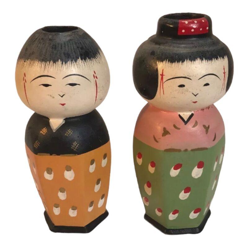 Vintage Japanese Figures Ceramic Vases Beautiful Hand-painted Figurines