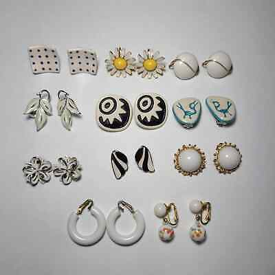 Lot of 11 Clip On Screw Back Earrings Silver Tone Gold Tone White Flowers