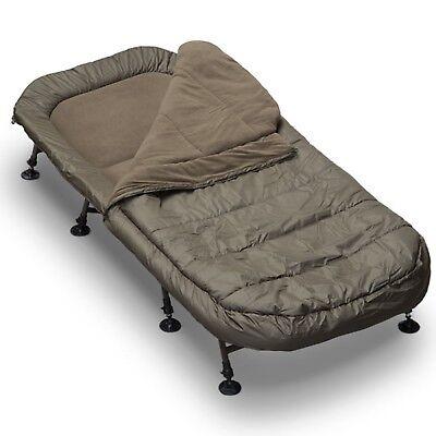 NGT Profiler 8 Leg Full Flat Fishing Bed chair + Lined Sleeping Bag Sleep System