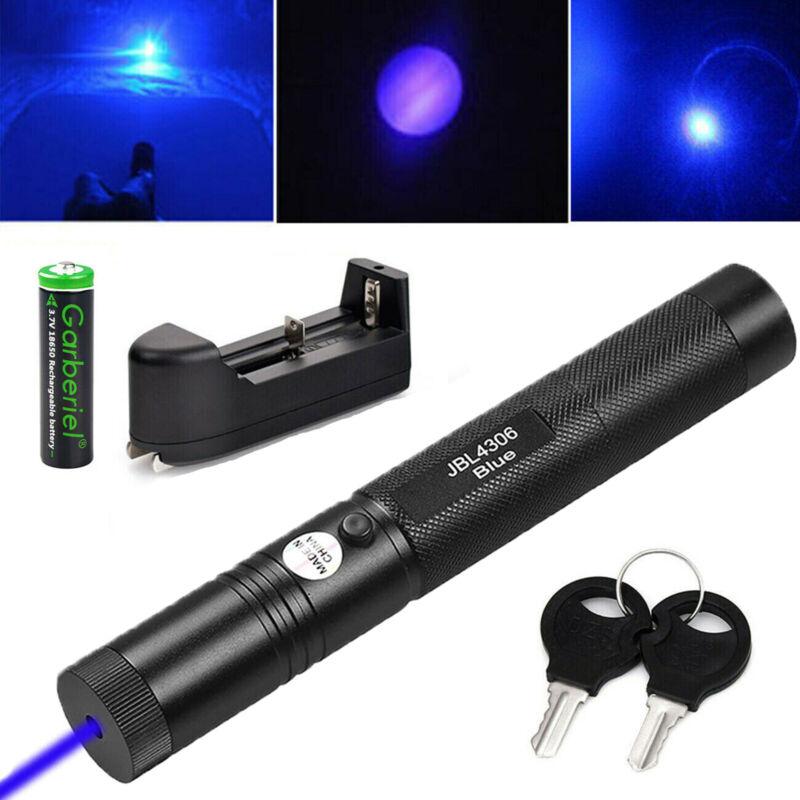 900Miles Blue Purple Laser Pointer 405nm Lazer Pen Beam+ 18650 Battery + Charger