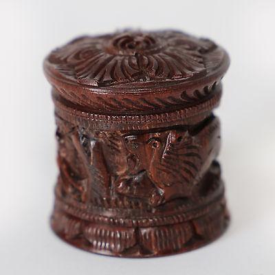 Holzdose, Dose aus Holz,fester Schraubdeckel- ELEFANT-LÖWE Pillendöschen Zahnfee