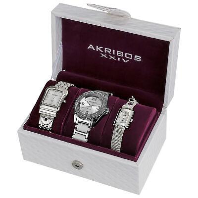 New Women's Akribos XXIV AK600SS Elegant Silver-tone Diamond Bracelet Watch Set