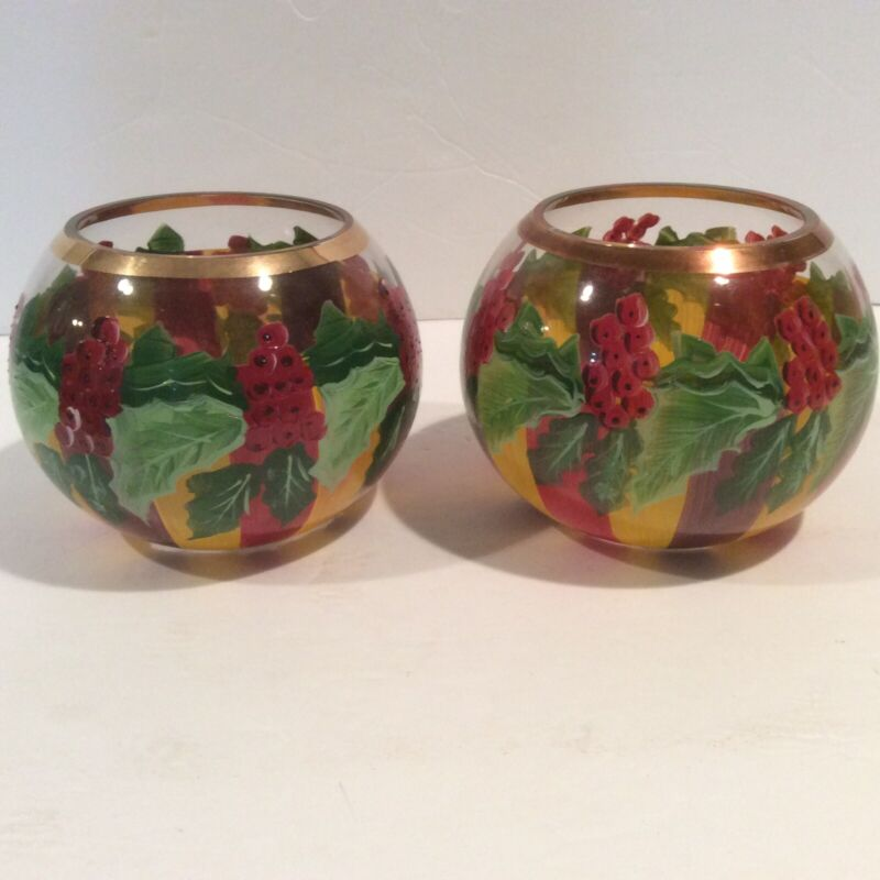 Mackenzie Childs Holly Berry Glass Candle Votive Holders (2) Christmas Holiday