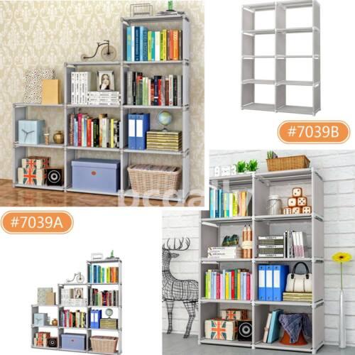 4 Tier 8/9-Shelf Bookcase Storage Shelving Book Wide Bookshe