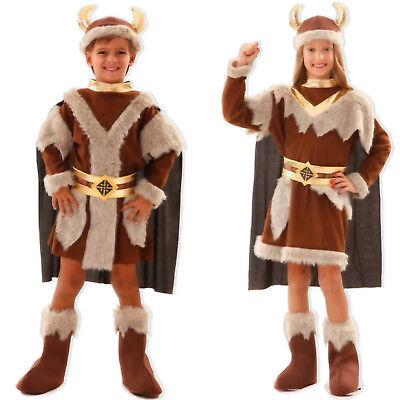 Mädchen Wikinger Kostüm (Kinder Wikinger Kostüm Jungen Mädchen S/M/L 4-12 Jahre Krieger Vikinger Fasching)