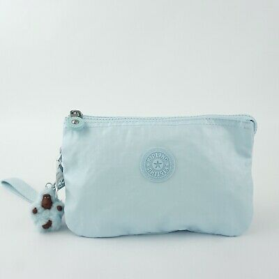 KIPLING CREATIVITY XL Pouch Clutch Wristlet Fainted Blue Metallic