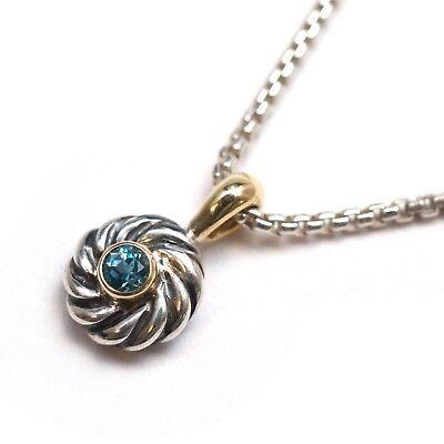 "New DAVID YURMAN Kids December Birthstone Blue Topaz Necklace Silver 18K 14"""