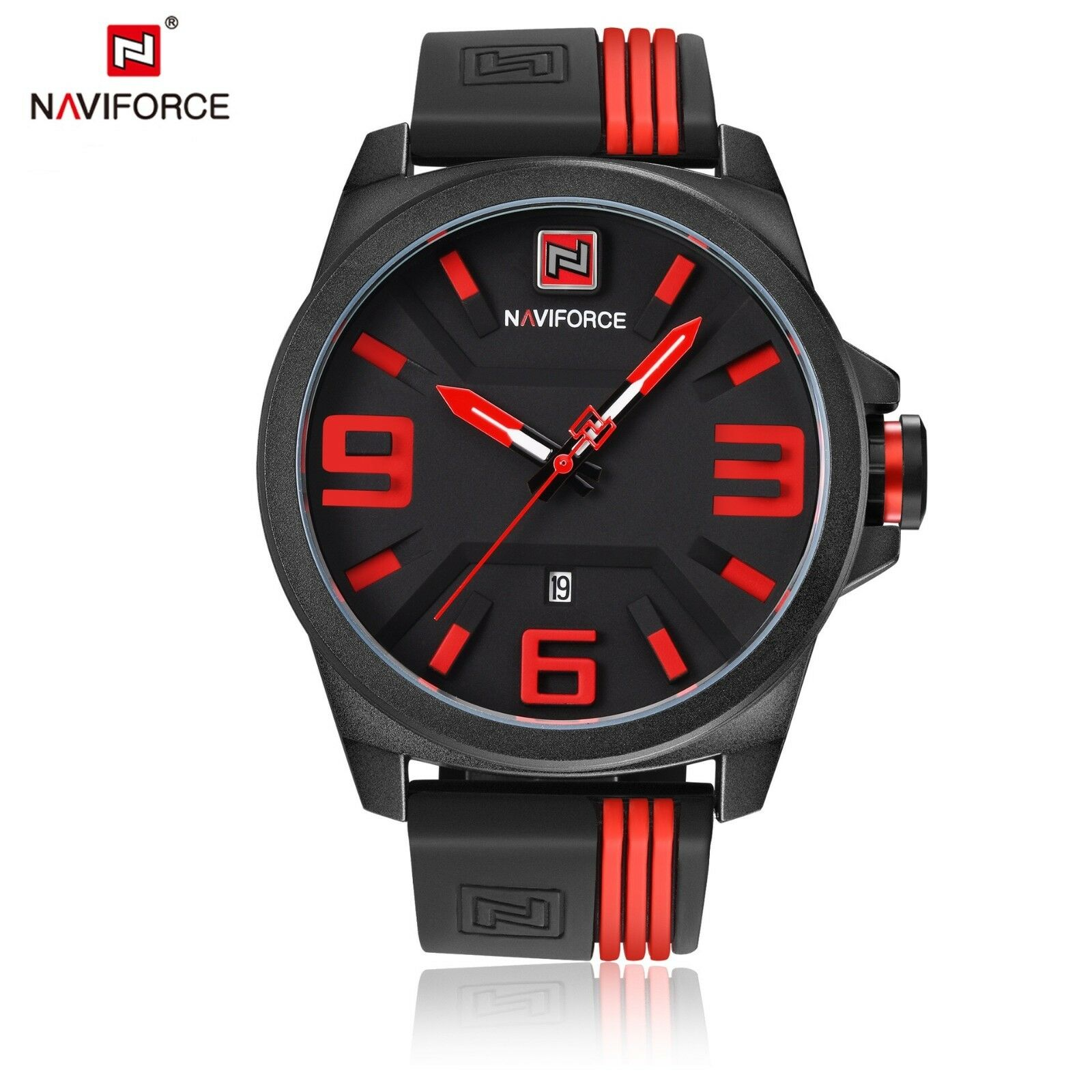Black Mens Sports Quartz Analog Rubber Band Date Display Waterproof Wrist Watch