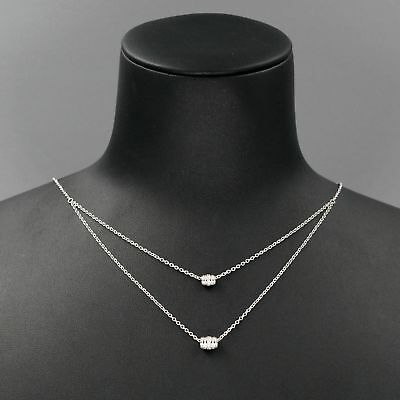 - 925 Sterling Silver Clear Cubic Zirconia CZ Pendant 2 Rows Chain Necklace 01218