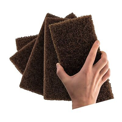Heavy Duty XL Brown Scouring Pad 5 Pack. 10 x 4.5in Large Multipurpose Nylon ...