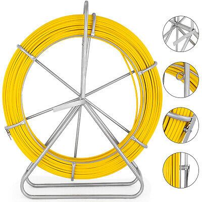 656ft200m Fiberglass Fish Tape Reel 6mm Wire Cable Conduit Puller Duct Rodder