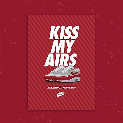 Nike Air Max 1 Anniversary OG Red A2 Limited Edition Sneaker Poster Art Print